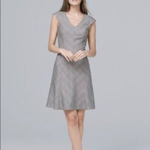 White House black market a line gray plaid dress